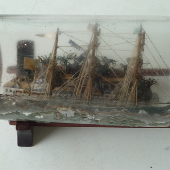 SHIP IN A BOTTLE-antique - Bottles