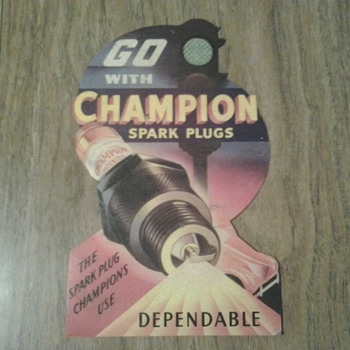 Champion Spark Plugs Die Cut Cardboard Litho Sign - Petroliana