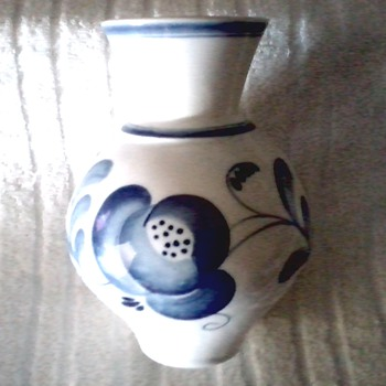 "Russian ""Gzhel "" Faience /Hand Painted Blue on White Vase / Circa 1950's 1960's  - Pottery"