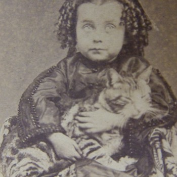 Civil War era CDV of child with her pet CAT - Animals