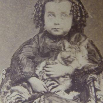 Civil War era CDV of child with her pet CAT - Animals