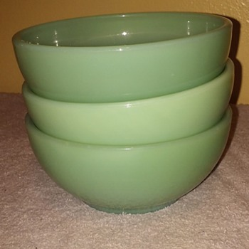 3pcs. FIRE-KING Jade-ite soup bowls - Glassware