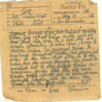 Santa Fe. Train Order Aug 10, 1923 at San Bernardino - Railroadiana