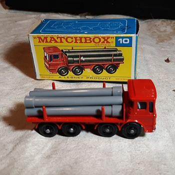 Much More Mortar Matchbox Monday MB 10 Pipe Truck In F Style Box 1968-1969 - Model Cars