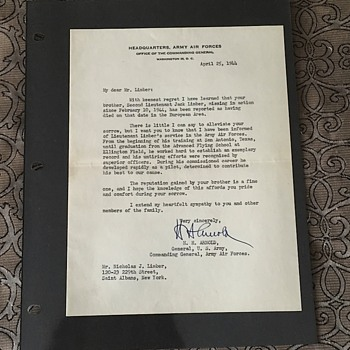 World War 2 Death Notification Document Signed By Gen H.H. Arnold