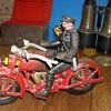 Cast iron police motor bike with sidecar and working light