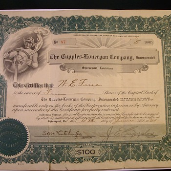 Stock Certificate Purchased in 1921 - US Paper Money