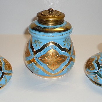 Bohemian? Vanity Set - Blue Opaline? with Gold Enamel - Bottles