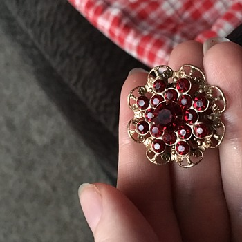 Red rhinestone brooch - Costume Jewelry
