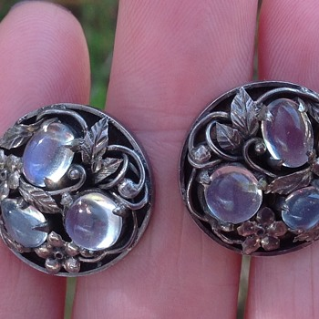 Bernard Instone Silver and Moonstones Earrings  - Arts and Crafts