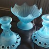 Vintage Westmoreland blue mist candle holders and compote