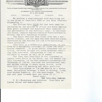 1900 Coca Cola Campaign Letter - Coca-Cola