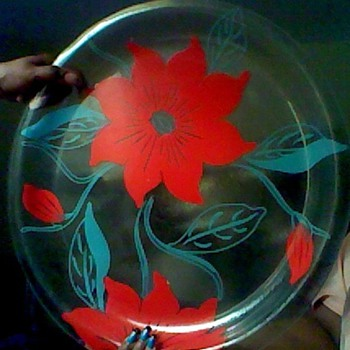 Eames Era Clear Glass Serving Plate Red Flowers  - Glassware