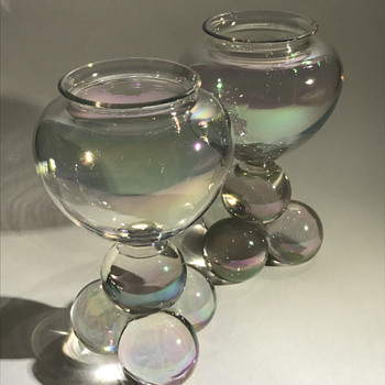 Harrach Iris Glatt Crystal Vases - Art Glass
