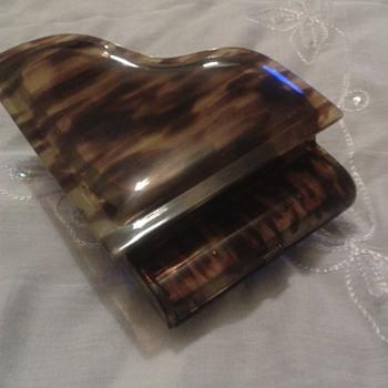 genuine tortois shell grand piano music box .