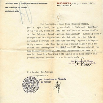 1943 Important Swiss protection-paper