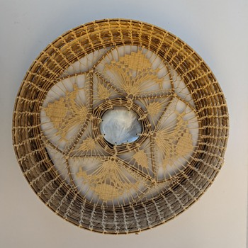Palmetto (?) Openwork Basket w/Shell Center-Origin? - Asian