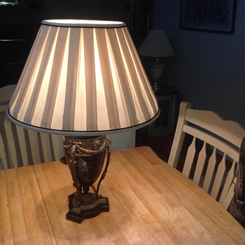 antique marble and brass lamp - Lamps