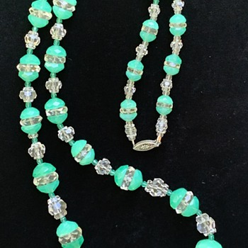 A Deco Uranium Glass Choker, Re-styled to Opera Length with Quartz Crystals - Costume Jewelry