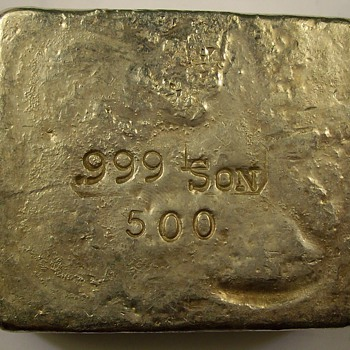 L-Son Smelters & refiners 500 Gram bar of .999 fine Silver - Gold