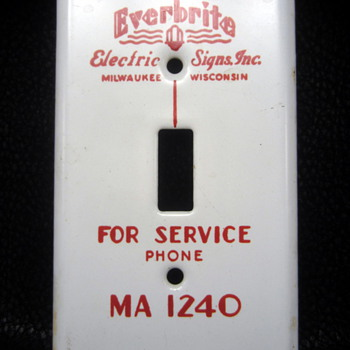 Everbrite electric signs porcelain Light switch Plate - Tools and Hardware