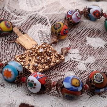 Favorite 1930s wedding cake bead & 1920s cloisonne bead bracelet - Costume Jewelry