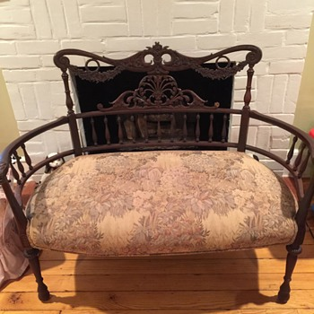 Beautiful Wooden Settee with tapestry fabric seat