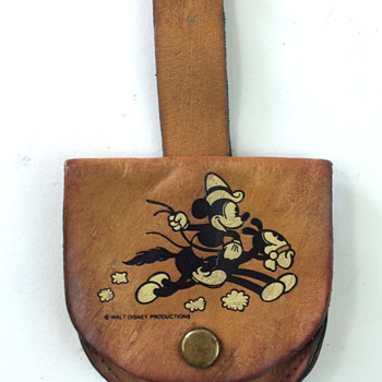 Mickey Mouse Leather Pocket Watch Carrying Case