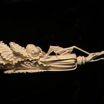 Beautiful Carved Chinese Ivory Cabbage Leaf with Cricket - Asian