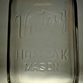 1943 Victory Hom-pak Mason Canning Jar Pint Embossed J.T.& A. Hamilton Glass Clear WWII Wartime Vintage - Bottles