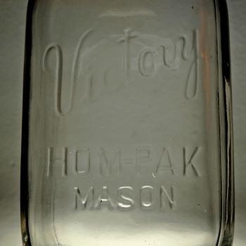 1943 Victory Hom-pak Mason Canning Jar Quart Embossed J.T.& A. Hamilton Glass Clear WWII Wartime Vintage - Bottles