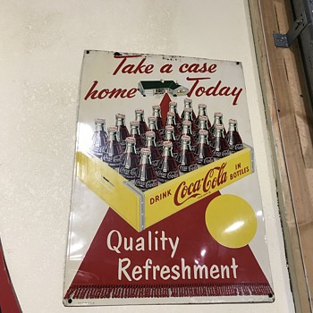 Coca Cola Take a case home today sign - Coca-Cola