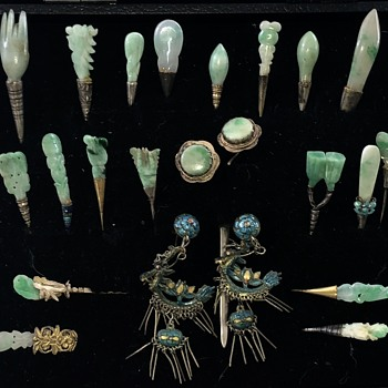Antique Chinese Kingfisher And Jade Hair Ornaments Collection - Asian