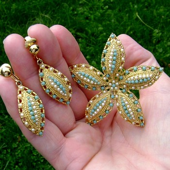 Sarah Coventry Brooch and Earrings - Ocean Star - Costume Jewelry