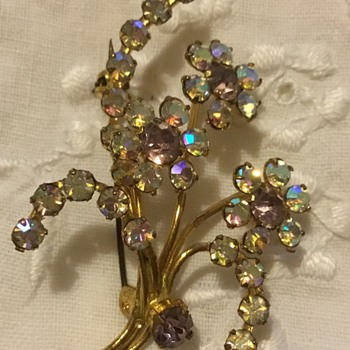 Vintage Sparkly Floral Spray Brooch - Costume Jewelry