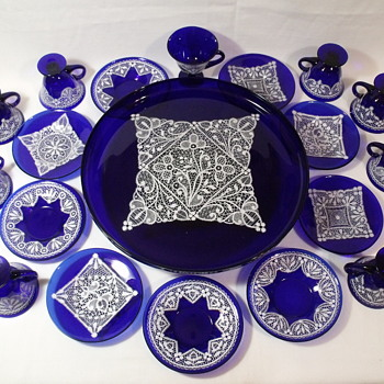 Enamel Lace Cobalt Glass - Art Glass