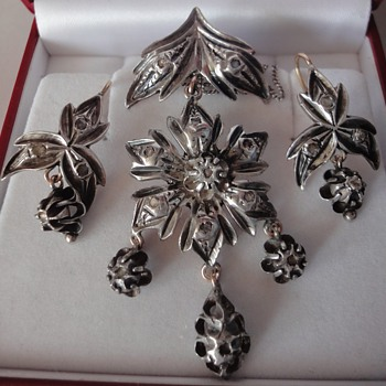 Superb Antique 19th century SILVER & DIAMOND demi parrure - Fine Jewelry