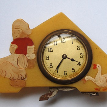 Antique novelty standing travel alarm clock ca. 1930's. - Clocks