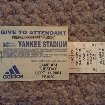 Pair of 9/11/01 NY Yankee Tickets