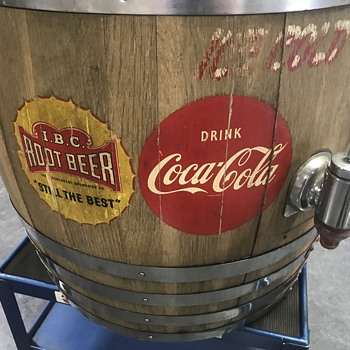 Coca Cola and root beer wood barrel fountain Dispenser  - Advertising