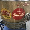 Coca Cola and root beer wood barrel fountain Dispenser