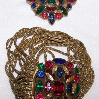 My Favorite Jewel Colored Bracelet & Matching Brooch - Costume Jewelry