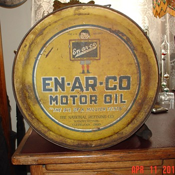 EN-AR-CO Motor Oil...Five Gallon Oil Rocker Can...White Rose Gasoline - Petroliana