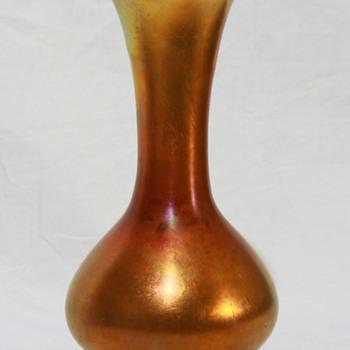 Lustre Art Gold waisted bottle-form vase; c1920 - Art Glass