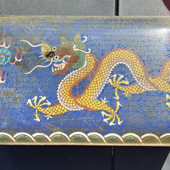 Antique Chinese Cloisonne Enamel Box Dragon   - Asian