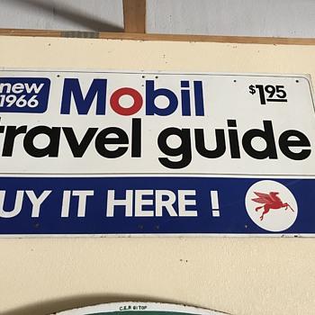 Rare  1966 Mobil oil company travel guide sign  - Petroliana