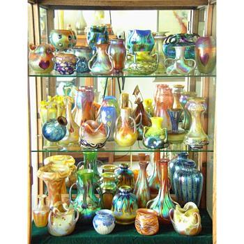 Loetz vases in groups. - Art Glass