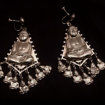 Vintage Buddha Earrings  - Costume Jewelry