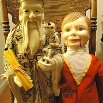 """Chinese resin? man with Dummy, $5.00 from garage sale, need help! about 12 lbs. 20"""" tall - Asian"""