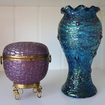 Loetz Metallic-Violet Chiné and Chiné New - Art Glass